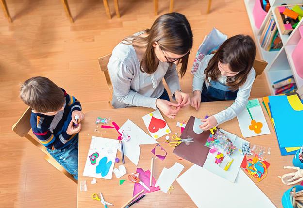 Teacher with Kids - Creative Arts Class
